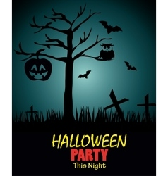poster halloween party with pumpkin design vector image