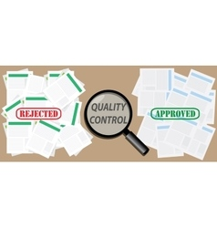 Quality control check document with approved and vector