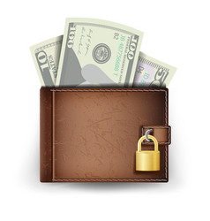 realistic classic brown wallet locked with vector image vector image
