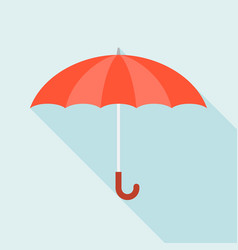 red umbrella icon with long shadow vector image vector image