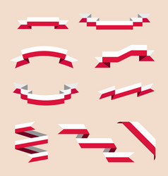 Ribbons or banners in colors of polish flag vector