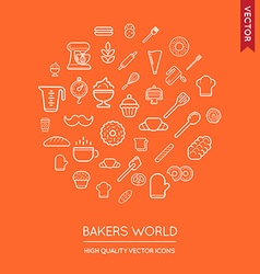 Set of bakery modern flat thin icons inscribed in vector
