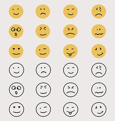 Set of hand drawn emoticons or smileys vector image vector image