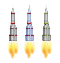 Space rocket isolated three color versions vector image vector image
