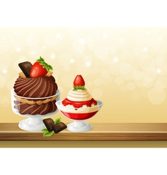 Sweets in glass bowls composition vector