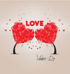 Two trees heart valentines vector