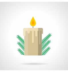 Xmas candle decor flat color icon vector image