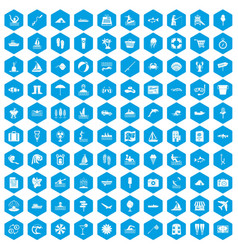 100 water recreation icons set blue vector
