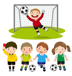 Set of cartoon soccer kids with different pose vector