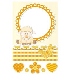 Baby sheep sunny scrapbook set vector image