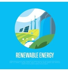 Renewable energy sun water and wind power vector