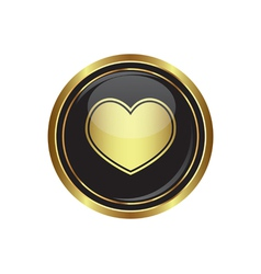 Heart icon gold vector