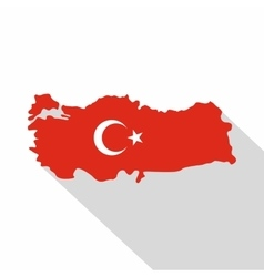 Turkey map in national flag colors icon flat style vector