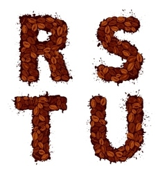 RSTU english alphabet letters made of coffee vector image