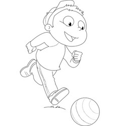 Coloring boy playing with ball vector