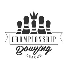 Championship bowling league vintage label black vector