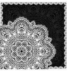 Ornate white and black lacy napkin vector image