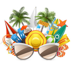 Beach concept with sunglasses vector