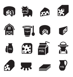 Silhouette cheese icons set vector