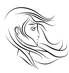 Stylized woman face profile vector