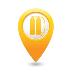 Aqualung symbol on yellow map pointer vector