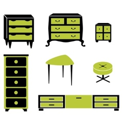 Set silhouettes of cupboard chests black interior vector