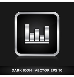 Graph icon silver metal vector