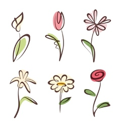 Outlined hand drawn flower collection design vector