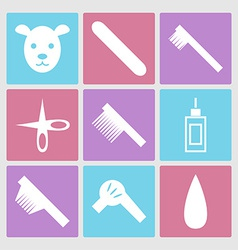Dog grooming icons set or pet hair salon vector