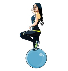 Woman in fitness clothing with a large ball vector