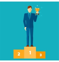 Business man on podium vector