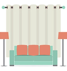 Empty sofa in front of brown curtain vector