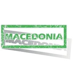 Green outlined macedonia stamp vector