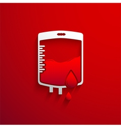 Bag blood donation concept with red blood drop and vector