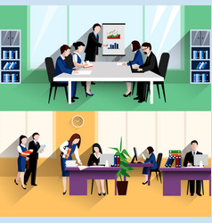 Business office flat banners composition poster vector