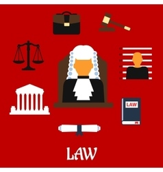 Judge with court flat icons vector
