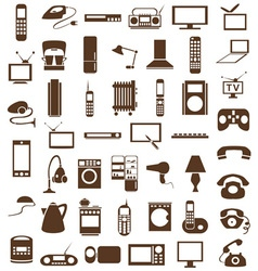 Household appliances icons on white vector