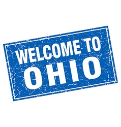 Ohio blue square grunge welcome to stamp vector