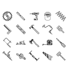 Vintage carpenter tools icons vector