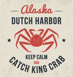 Alaska t shirt with king crab vector