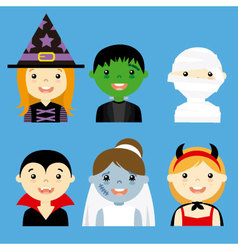 avatar collection of happy children dressed as hal vector image vector image