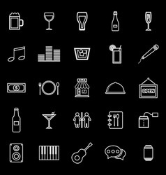 Bar line icons on black background vector