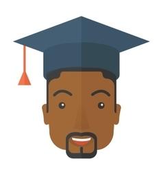 Black guy head with graduation cap vector