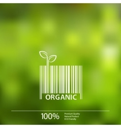 blurred nature background with eco barcode vector image vector image