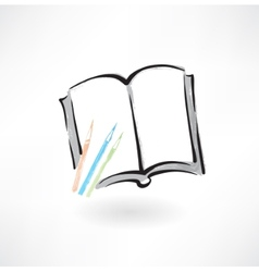 book and pencils grunge icon vector image vector image