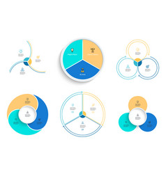 Business infographics pie charts with 3 steps vector