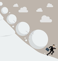 Businessman running away from snowball effect vector