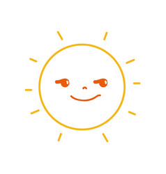 Color line rogue and cute sun kawaii weather vector