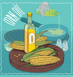Corn oil used for frying food vector