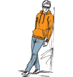 Fashion sketch of man vector